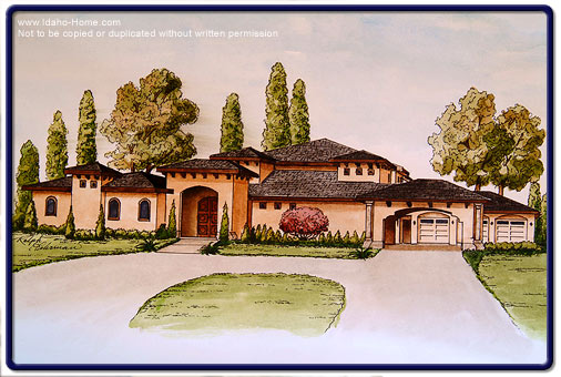 Drawing of custom home with descriptions for Luxury home descriptions