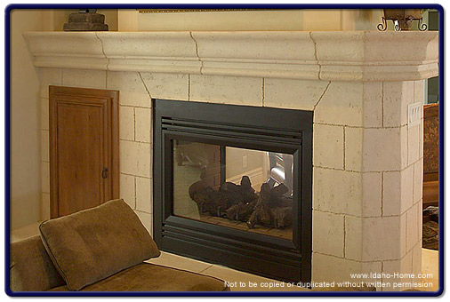 Customized Natural Limestone Fireplace in the Living Room