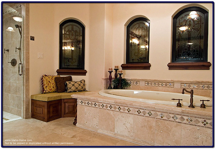 Elegant mediterranean style bathroom with italian tile for Elegant mediterranean homes