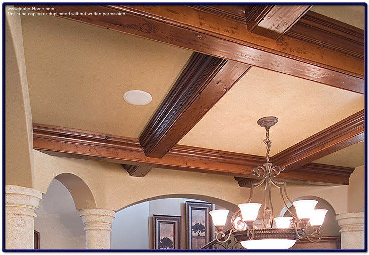 Large wood ceiling beams for living and dining room for How to add beams to a ceiling