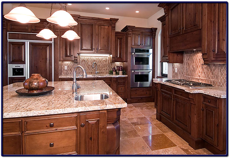 Custom kitchen built with travertine tile and solid for Custom built kitchen cabinets
