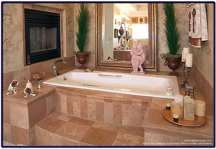 Picture and information of elegant master bath fireplace for Elegant master bathrooms pictures